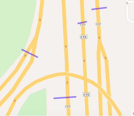 Caption: ERP gantries visualisation on our map - The purple bars are the gantries that we drew on our map