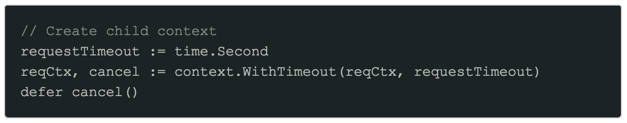Child context with request timeout code
