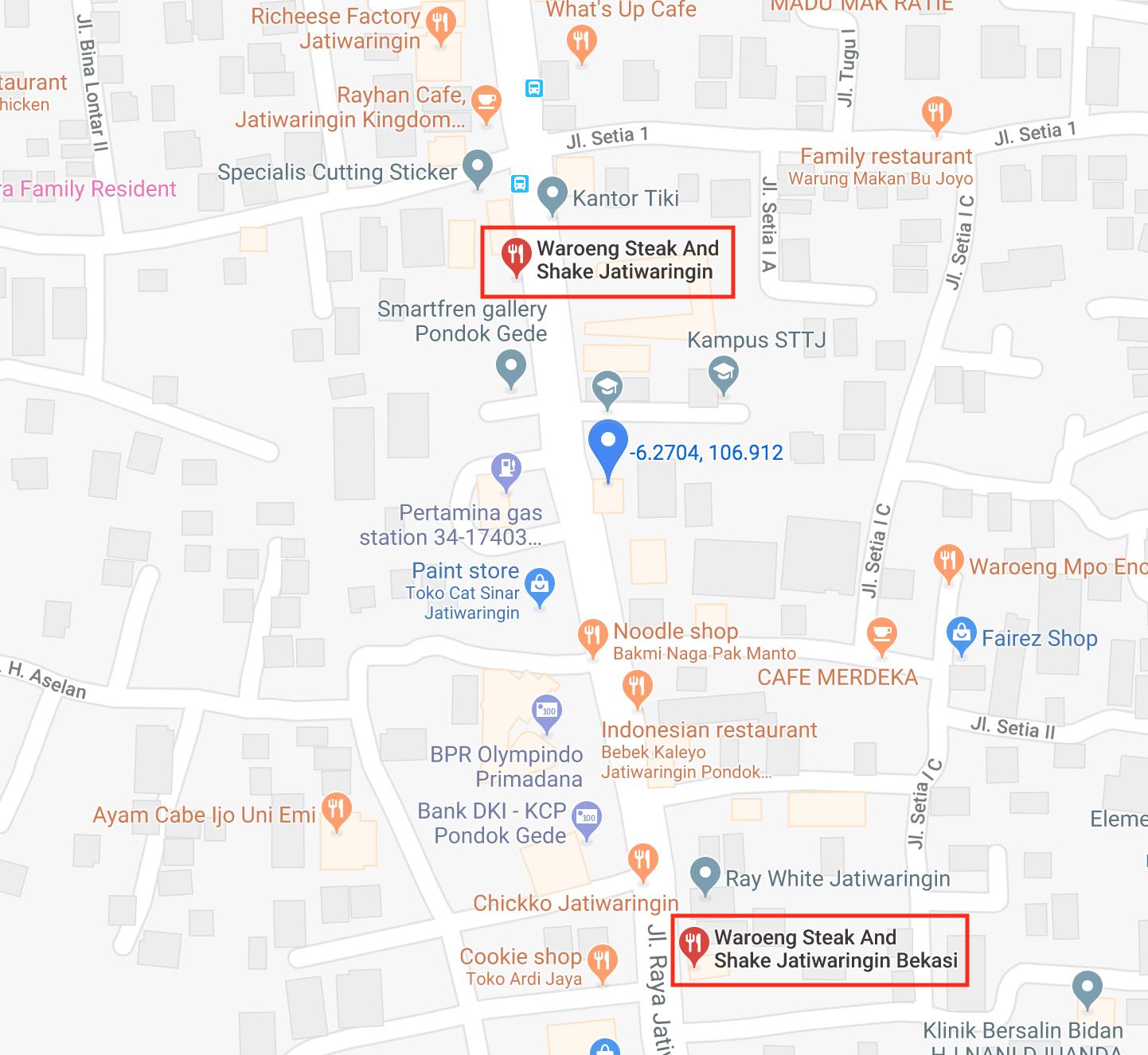 Waroeng Steak and Shake map location on Google Maps