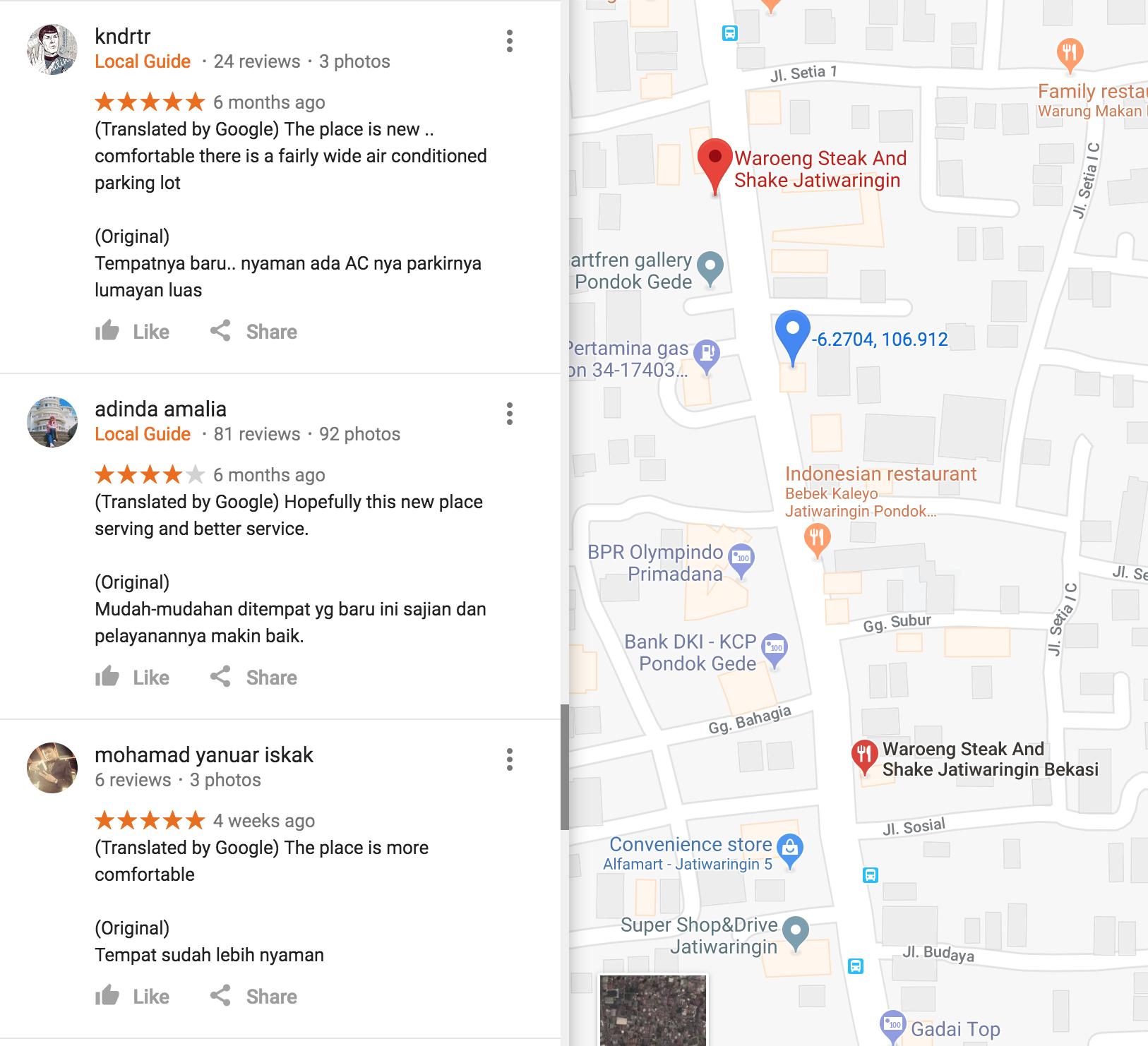 Waroeng Steak and Shake Google Maps reviews
