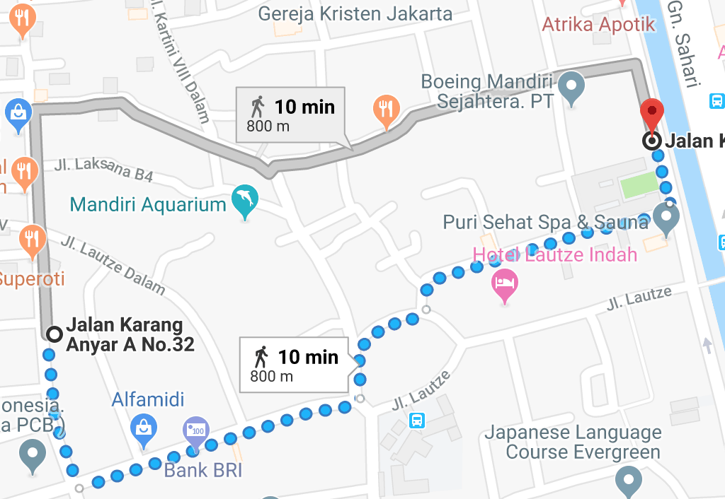 Sederhana  Minang path from registered to estimated location