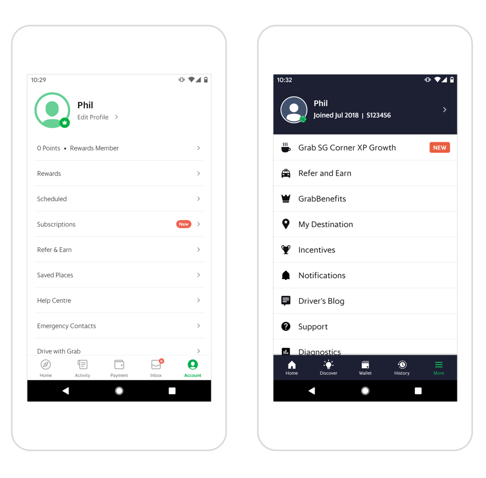Grab's passenger app on the left versus the driver app