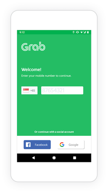 Grab's sign-in screen