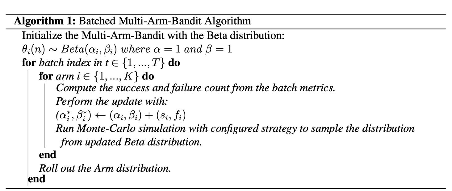 Batched Multi-Armed Bandit algorithm