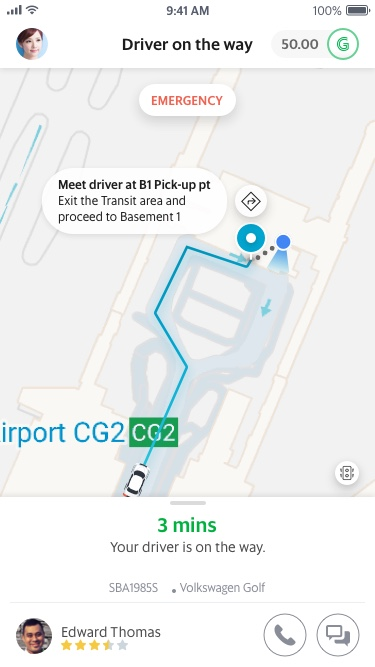 Driver allocated at Changi Airport