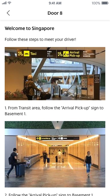 Directions to pick-up point at Changi Airport
