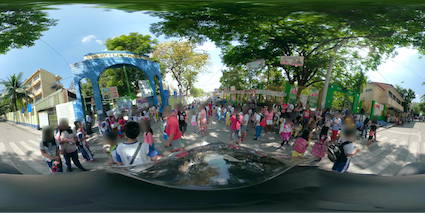 Figure 3 - Example of equirectangular image where personal data has to be blurred