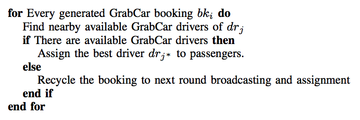 Algorithm I. GrabCar booking assignment flow