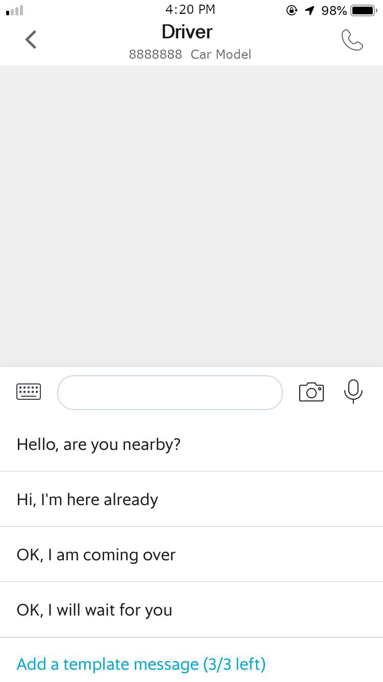 Examples of chat templates, as they appear in GrabChat!