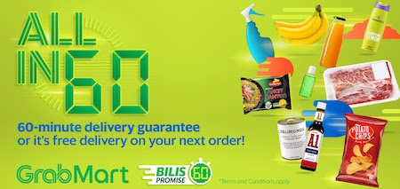 60-minute GrabMart delivery guarantee campaign operated via Trident